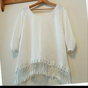 White boho top xl fits m/s